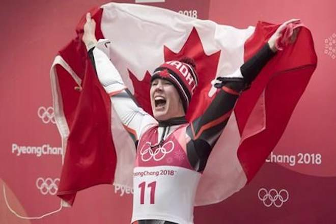 Canadian luger Alex Gough, of Calgary celebrates winning a bronze medal in women's luge at the Olympic Siding Centre at he Pyeongchang 2018 Winter Olympic Games in South Korea on February 13, 2018. THE CANADIAN PRESS/Jonathan Hayward