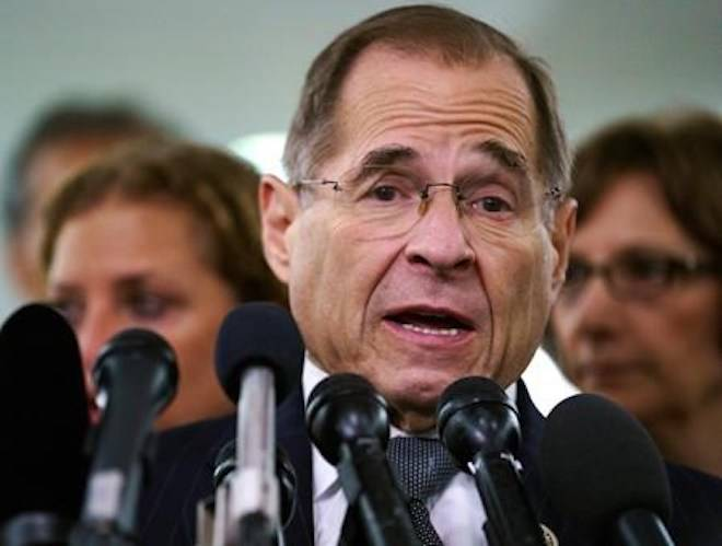 FILE - In this Sept. 28, 2018, file photo, House Judiciary Committee ranking member Jerry Nadler, D-N.Y., talks to media during a Senate Judiciary Committee hearing on Capitol Hill in Washington. (AP Photo/Carolyn Kaster, File)