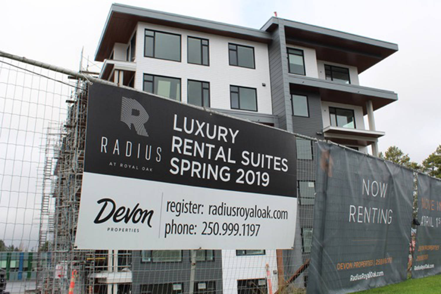 The six-storey wood frame Radius apartment complex under construction in Royal Oak promises to further increase the supply of affordable housing. Compared to the rest of Canada, households in British Columbia spent the most on shelter. Travis Paterson/News Staff