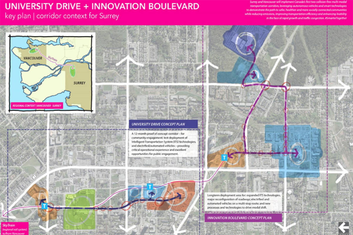 Surrey Canada Map.A Closer Look At Driverless Shuttles Proposed In Surrey Vancouver