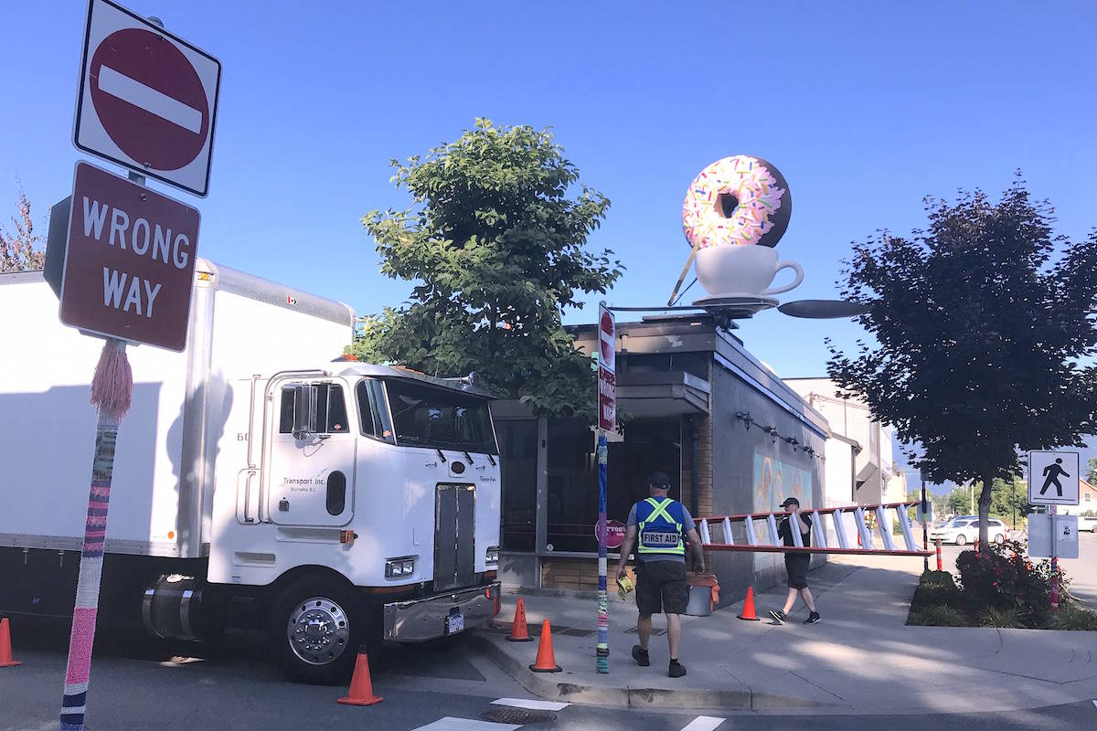 Movie shoot prep in Chilliwack starts with massive trucks and an oversized doughnut