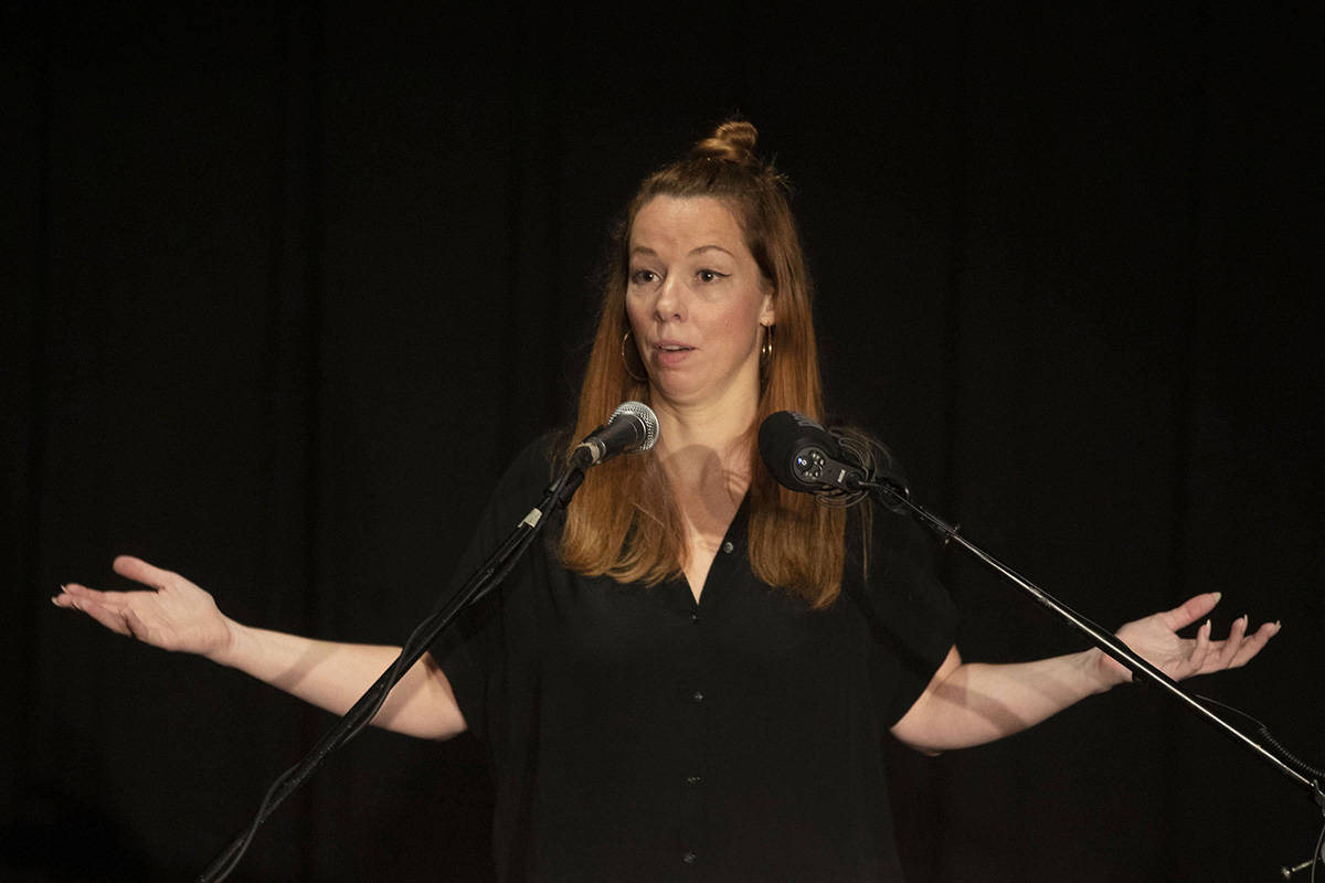 Writer Meghan Murphy speaks at an event in a Toronto Library on Tuesday October 29, 2019. The organizer of a panel discussion on gender and sexuality says the location of the event in Vancouver has been changed over possible security risks because of the views of a featured speaker who drew protests at a Toronto public library this week. THE CANADIAN PRESS/Chris Young