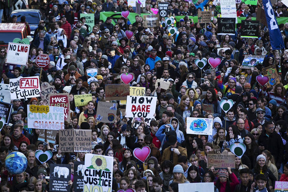 Thousands of people took to the streets joining in a climate strike which Swedish activist, Greta Thunberg attended, in Vancouver, on Friday, Oct. 25, 2019. An open letter signed by thousands of scientists from around the world may be the clearest demonstration yet of their near-unanimous agreement over the globe's emerging climate crisis. THE CANADIAN PRESS/Melissa Renwick