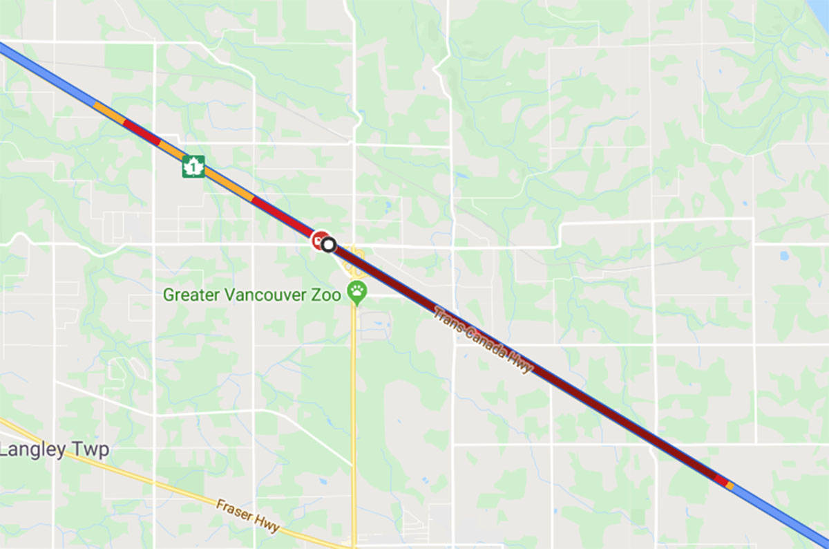 Westbound Highway 1 vehicle accident causing traffic congestion in Langley