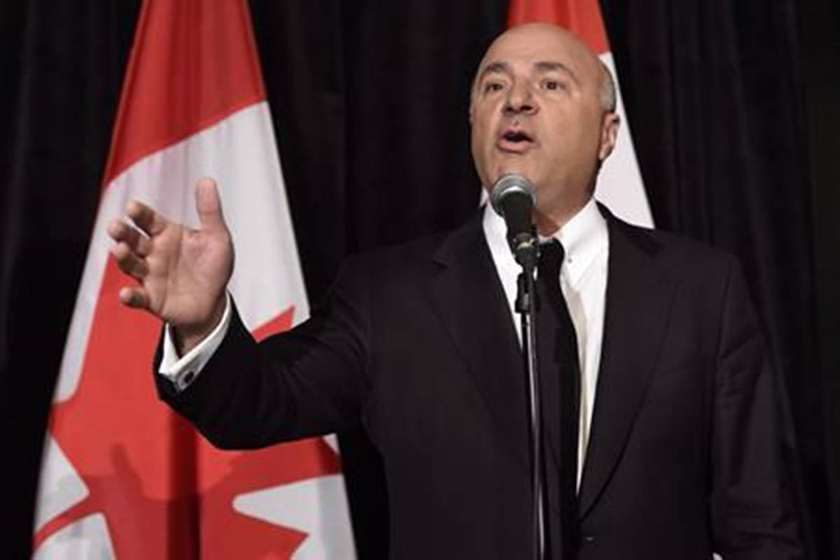 """Kevin O'Leary addresses a news conference in Toronto on April 26, 2017. Celebrity businessman and one-time contender for leadership of the Conservative Party Kevin O'Leary will head to court in April to challenge the constitutionality of campaign finance law. O'Leary tells The Canadian Press he's whittled away at his massive debt from his leadership bid, but called the current financing rules governing how it gets paid back a """"cancer on democracy"""" that must be fixed. THE CANADIAN PRESS/Nathan Denette"""
