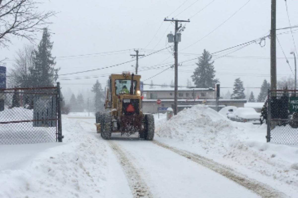 District plows cleaned the streets of Hope, after storm conditions brought up to 15 cm of snow to Hope last winter. (Emelie Peacock file photo)