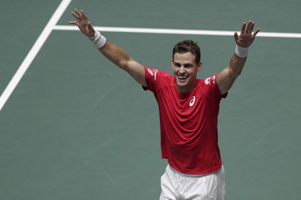 Canada's Vasek Pospisil celebrates after winning their Davis Cup semifinal doubles match with his partner Denis Shapovalov, against Russia's Karen Khachanov and Andrey Rublev, in Madrid, Spain, Saturday, Nov. 23, 2019. (AP Photo/Bernat Armangue)