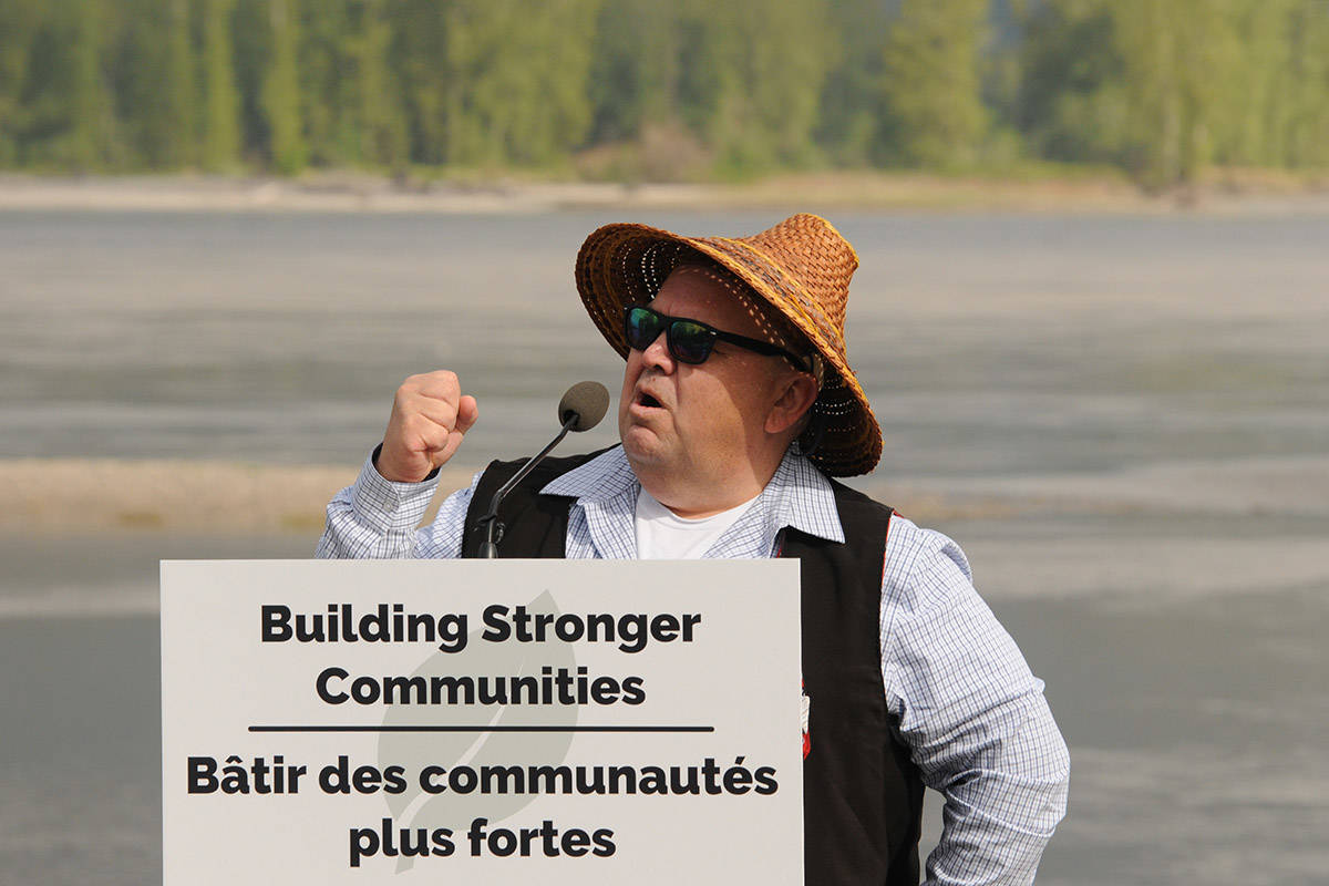 Chief Robert Gladstone of Shxwha:y Village at a federal flood funding announcement April 24, 2019. (Jenna Hauck/Chilliwack Progress file)