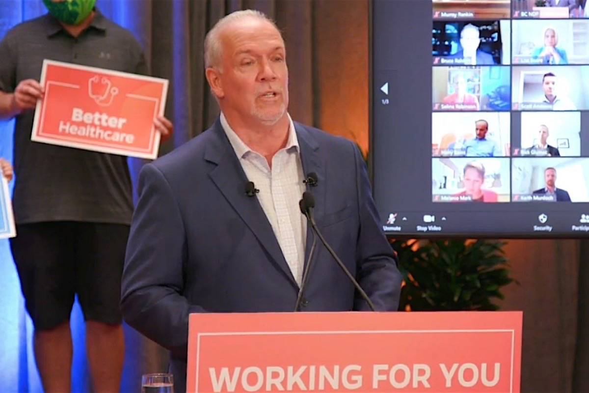 B.C. NDP leader John Horgan releases his election platform, Vancouver, Oct. 6, 2020, featuring COVID-19 relief payments promised for most households. (B.C. NDP photo)