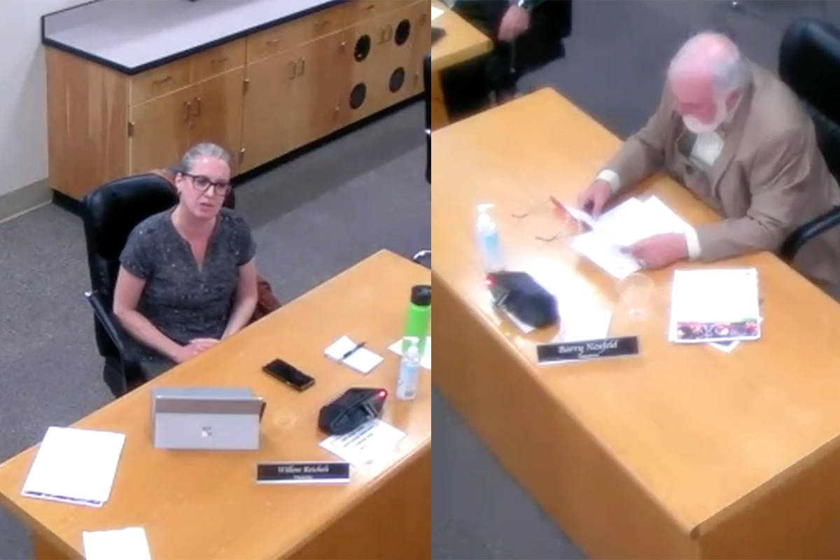 A private message exchange between Chilliwack School Trustees Willow Reichelt and Barry Neufeld was made public by Neufeld at a board meeting on Oct. 20. (YouTube)