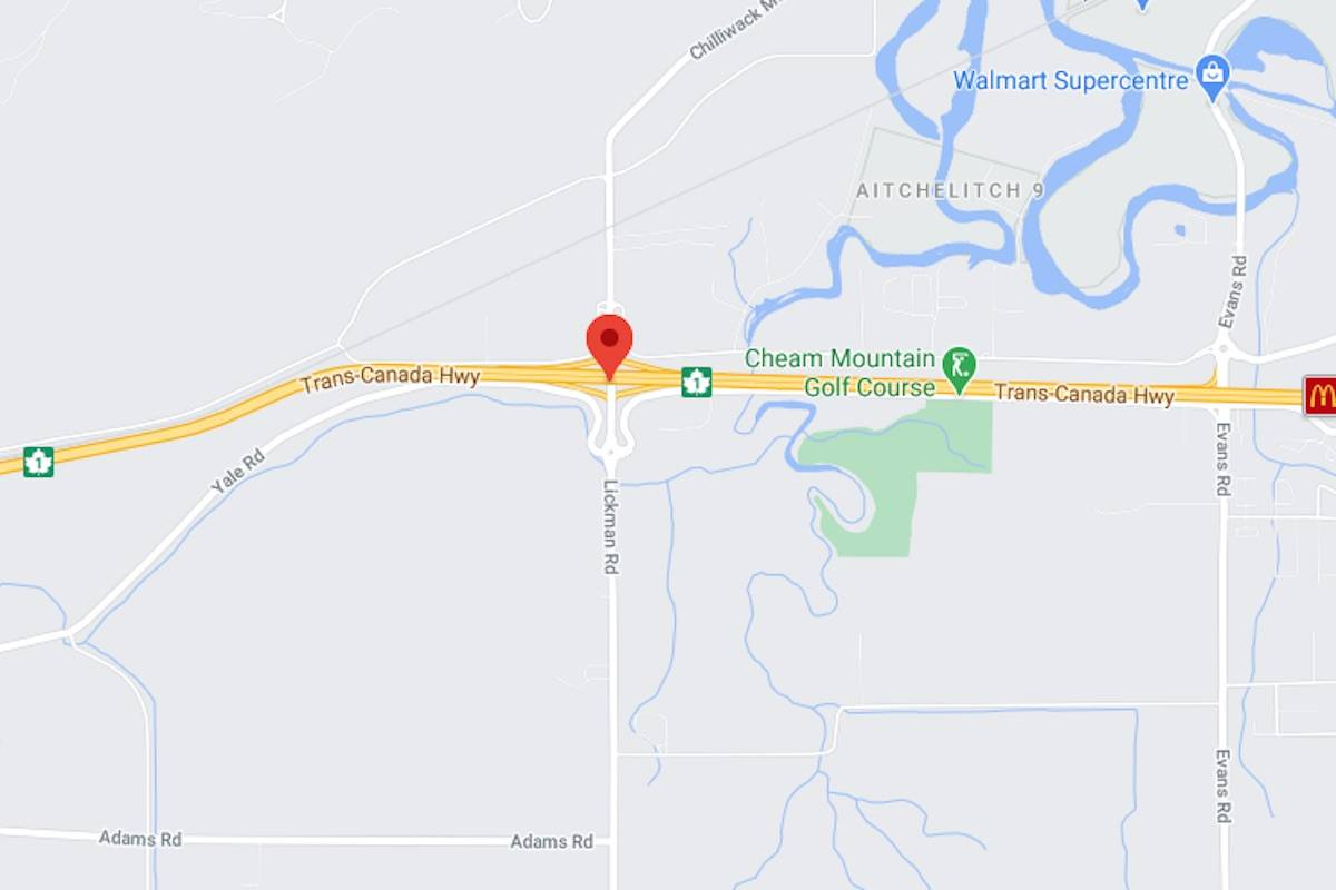 Highway 1 closed for collision at Lickman Road near Chilliwack at about 6:15 a.m. with next update coming at 8 a.m. (Google)