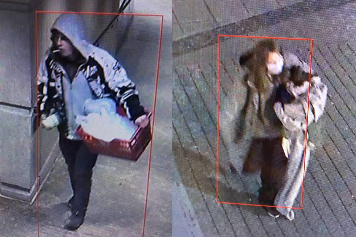 Police released surveillance footage of a man (pictured left) setting fire to the blankets of a homeless woman (right) while she slept on a downtown sidewalk on Hamilton Street, near the Queen Elizabeth Theatre, around 4 a.m. on Dec. 13, 2020. (Vancouver police handout)