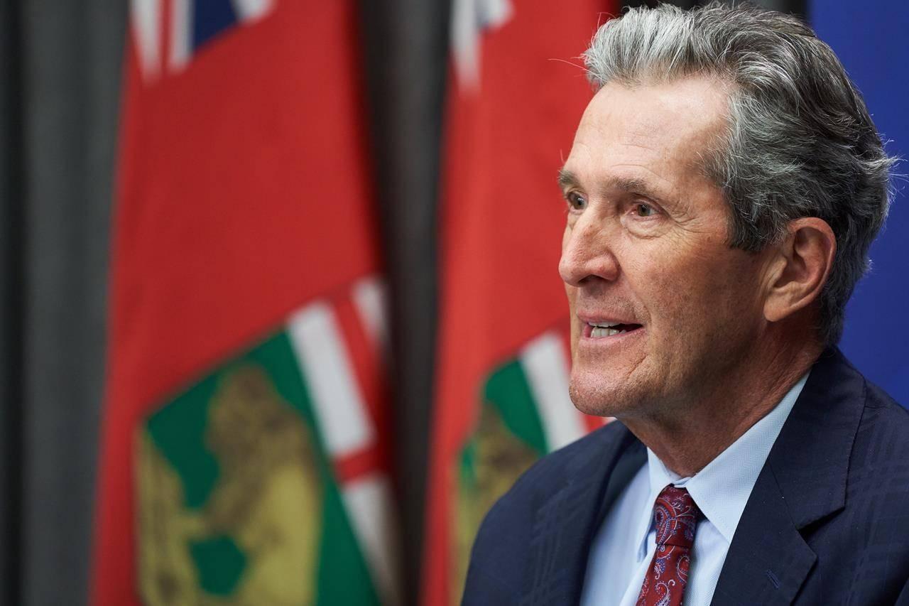 Premier of Manitoba Brian Pallister speaks at a news conference at the Manitoba Legislative Building, in Winnipeg on Wednesday, April 7, 2021. THE CANADIAN PRESS/David Lipnowski