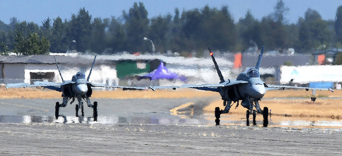 Two RCAF CF-18 Hornets arrived at Abbotsford International Airport on Wednesday afternoon in preparation for this weekend's SkyDrive, presented by the Abbotsford International Airshow. (John Morrow/Abbotsford News)