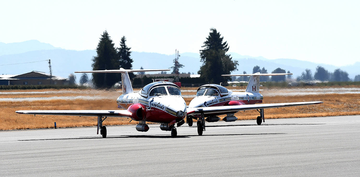 Two Canadian Forces Snowbirds arrived at Abbotsford International Airport on Wednesday afternoon in preparation for this weekend's SkyDrive, presented by the Abbotsford International Airshow. (John Morrow/Abbotsford News)