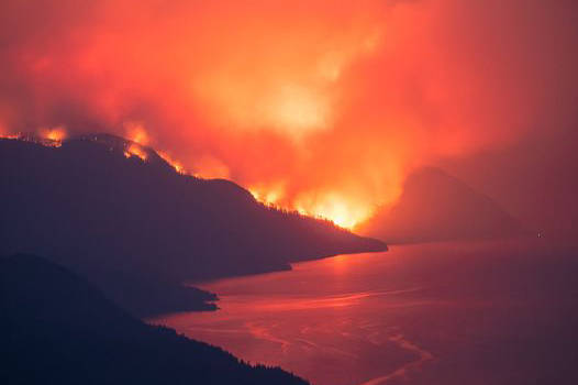 The Michaud Creek wildfire burning along Lower Arrow Lake pictured July 17. (Ashley Voykin photo)