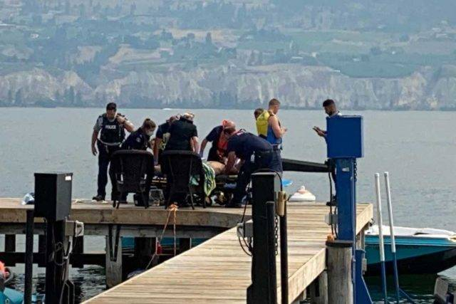 Man brought to shore in Summerland by private boat on Okanagan Lake. (John Arendt/ Summerland Review)