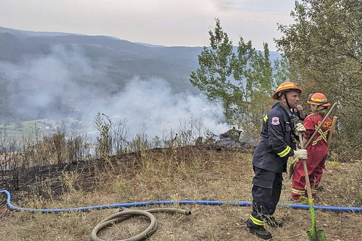 Columbia Shuswap Regional District Fire Services reports that the Ranchero-Deep Creek Fire Department and the BC Wildfire Service took quick action to subdue the Violet Creek fire north of Grindrod near the Larch Hills Forest Service Road, which started during the evening of Aug. 9. (CSRD Fire Services)