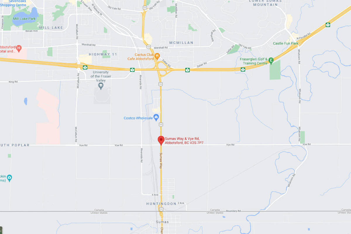 The Vye Road and Highway 11 road project in Abbotsford is located south of Highway 1 and north of the Abbotsford-Huntingdon border crossing. (Google Maps)