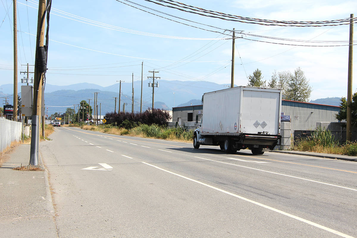 Road construction on Vye Road between Riverside Road and Sumas Way (Highway 11) has been delayed due to a recent archeological discovery. (Vikki Hopes/Abbotsford News)