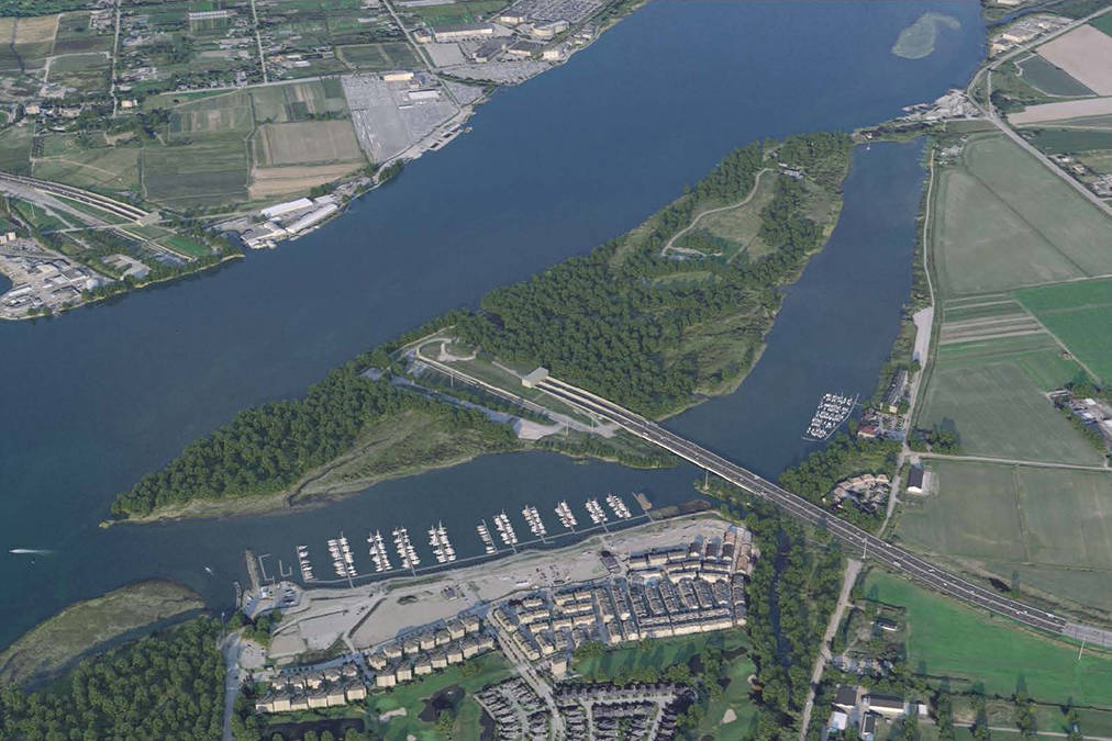 Aerial view rendering of the eight-lane immersed tube tunnel favoured by Metro Vancouver's board of directors to replace the aging George Massey Tunnel. (Province of British Columbia image)