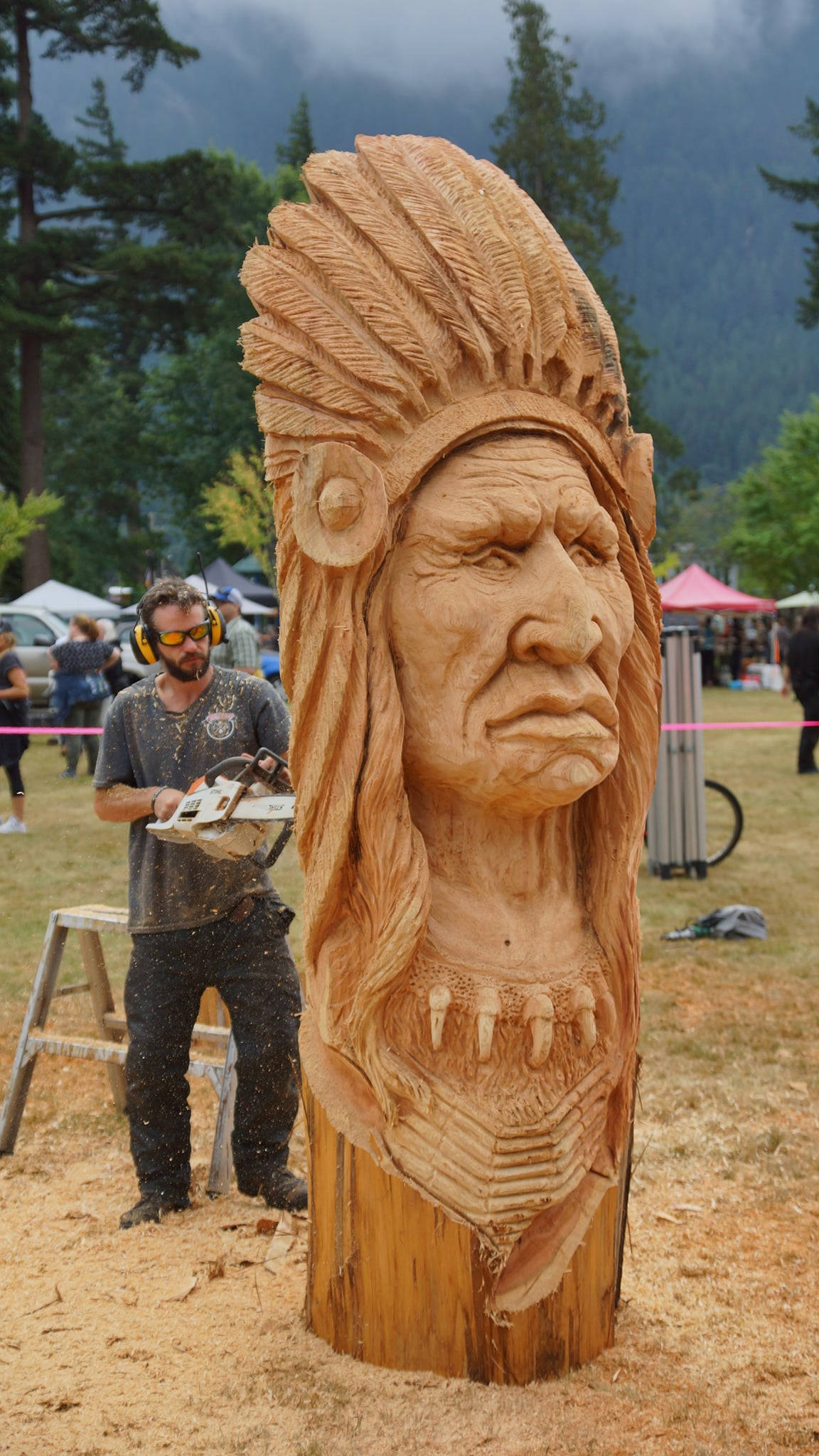 Levi Caya won first place and also People's Choice in the 2021 Hope Chainsaw Carving Competition. (Submitted photo)
