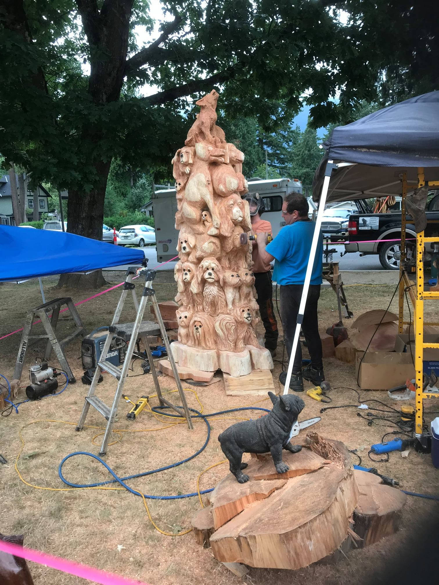 Liam Tromans dog pile earned the hearts of judges and came in third place in the Hope Chainsaw Carving Competition. (Submitted)