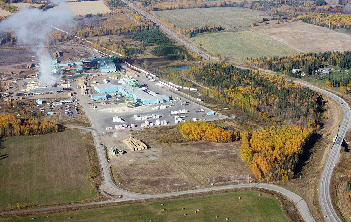 An aerial view of Canfor's Plateau operation west of Vanderhoof. (Aman Parhar photo - Omineca Express)
