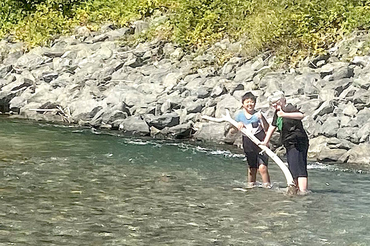 Two 11-year-olds before they were swept down the Vedder River on Aug. 24, 2021. (Tara Scheirer photo)