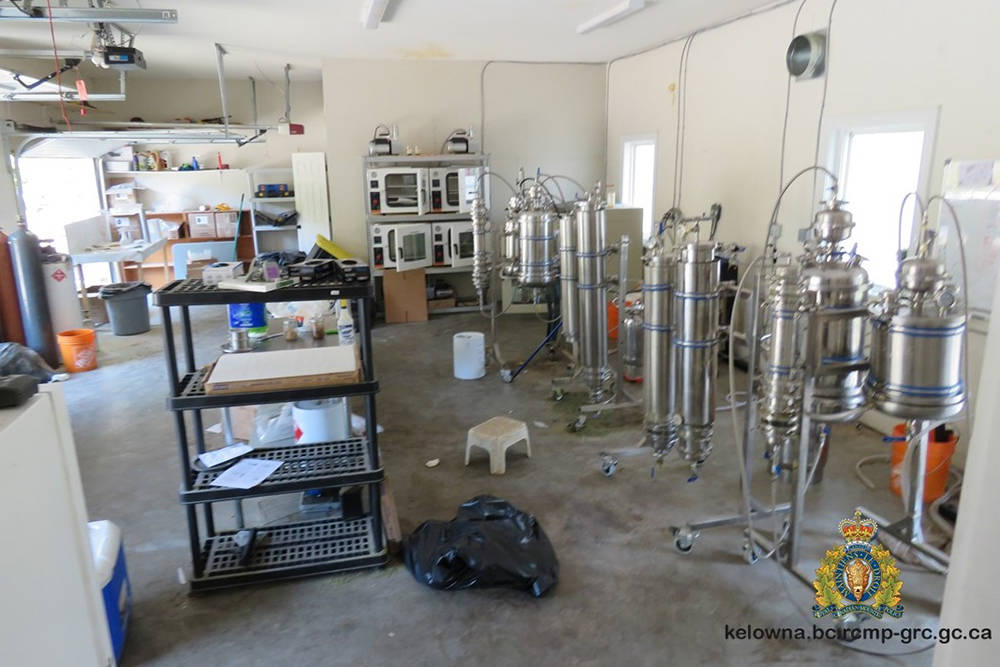 A photo of a drug lab found in a home ordered evacuated due to the Mount Law wildfire. (Contributed/West Kelowna RCMP)