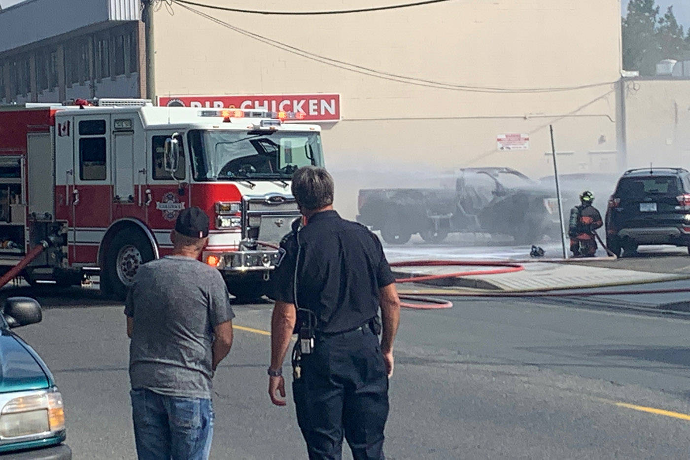 Chilliwack Fire Department responded to a truck on fire which was carrying a propane tank at Wellington Avenue and College Street in Chilliwack on Friday, Aug. 27, 2021. (Paul Henderson/ Chilliwack Progress)