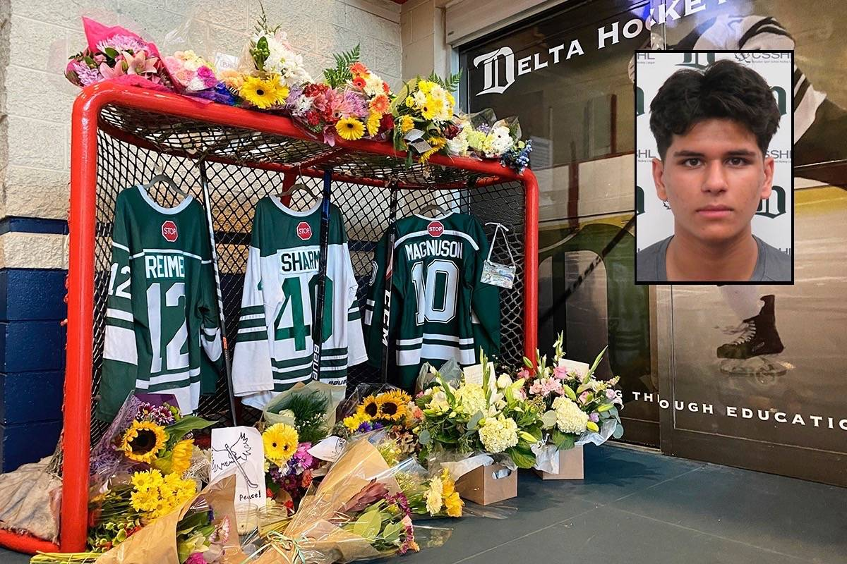 The funeral of 16-year-old Ronin Sharma, who was killed in a single-vehicle crash along with 17-year-old Parker Magnuson and 16-year-old Caleb Reimer in the 16000-block of 104 Avenue on Aug. 21, 2021, was livestreamed on Saturday, Aug. 28, 2021.(Photo: Tom zillich/Inset: Delta Hockey Academy)