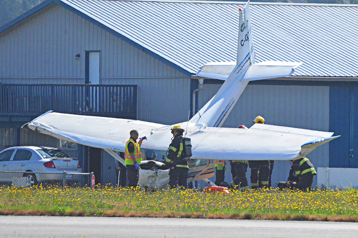 Firefighters and other emergency responders were on scene Wednesday afternoon when a small plane crashed at the Langley Regional Airport. (Matthew Claxton/Langley Advance Times)