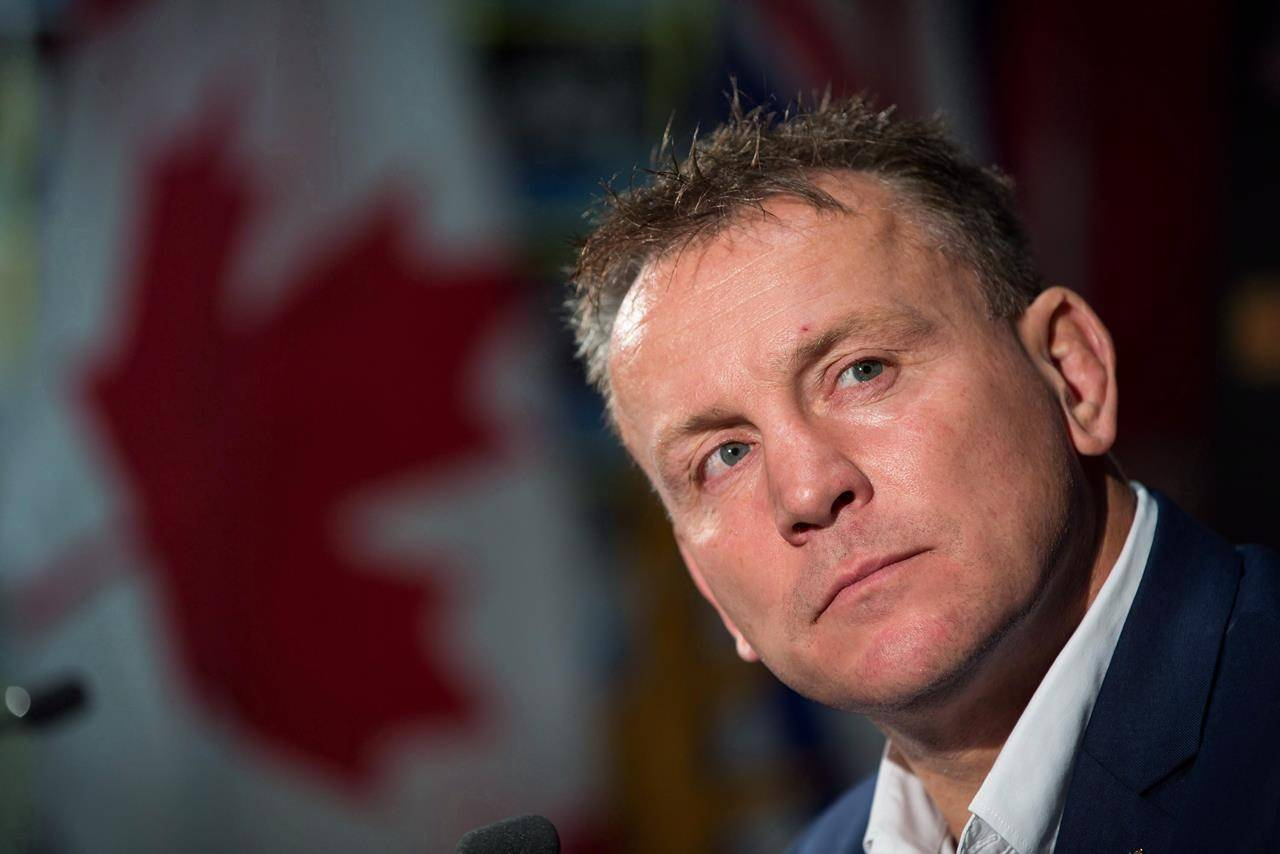 Rugby Canada men's national team head coach Kingsley Jones listens after he was introduced as the new coach of the team, in Vancouver, B.C., on Tuesday October 24, 2017. THE CANADIAN PRESS/Darryl Dyck