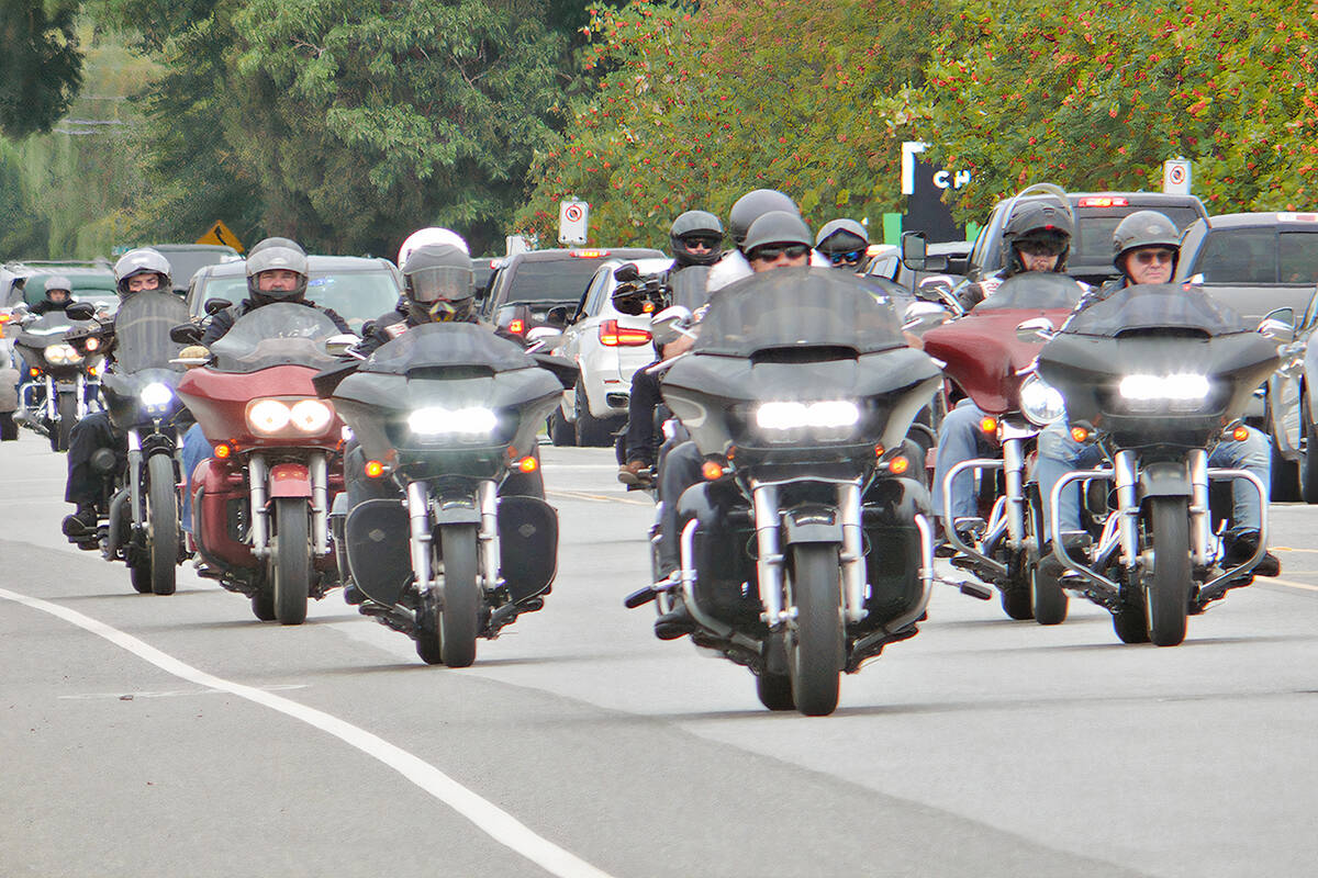 An estimated 1,000 to 1,500 riders from motorcycle clubs across Canada attended the Langley service for the president of the Haney chapter of the Hells Angels, Mike Hadden on Saturday, Sept. 4. (Dan Ferguson/Langley Advance Times)