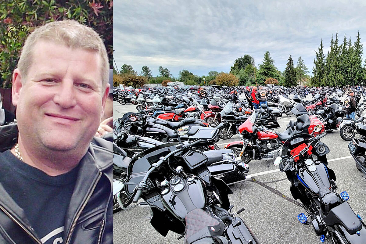 Hundreds of motorcycles filled the parking lot of the Christian Life Assembly in Langley on Saturday, Sept. 4 for the funeral of Mike Hadden, president of the Haney chapter of the Hells Angels. (Dan Ferguson/Langley Advance Times)