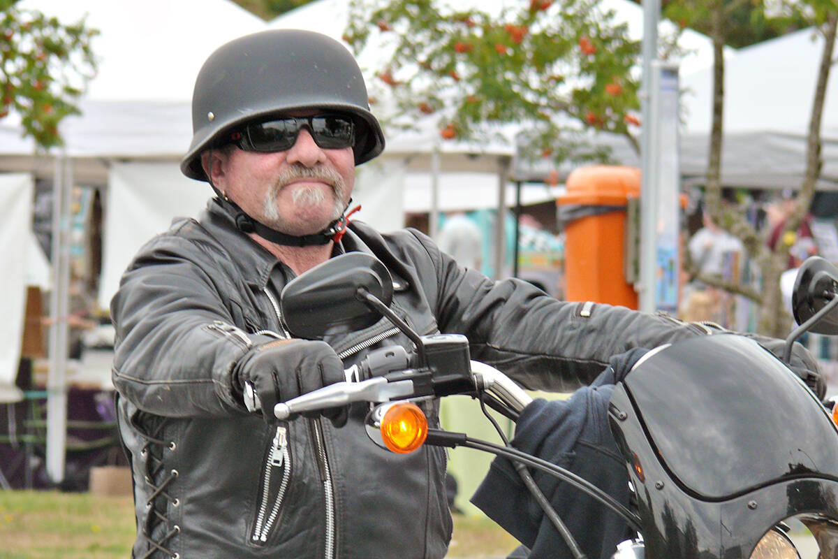 One of the estimated 1,000 to 1,500 riders from motorcycle clubs across Canada who attended the Langley service for the president of the Haney chapter of the Hells Angels, Mike Hadden on Saturday, Sept. 4. (Dan Ferguson/Langley Advance Times)