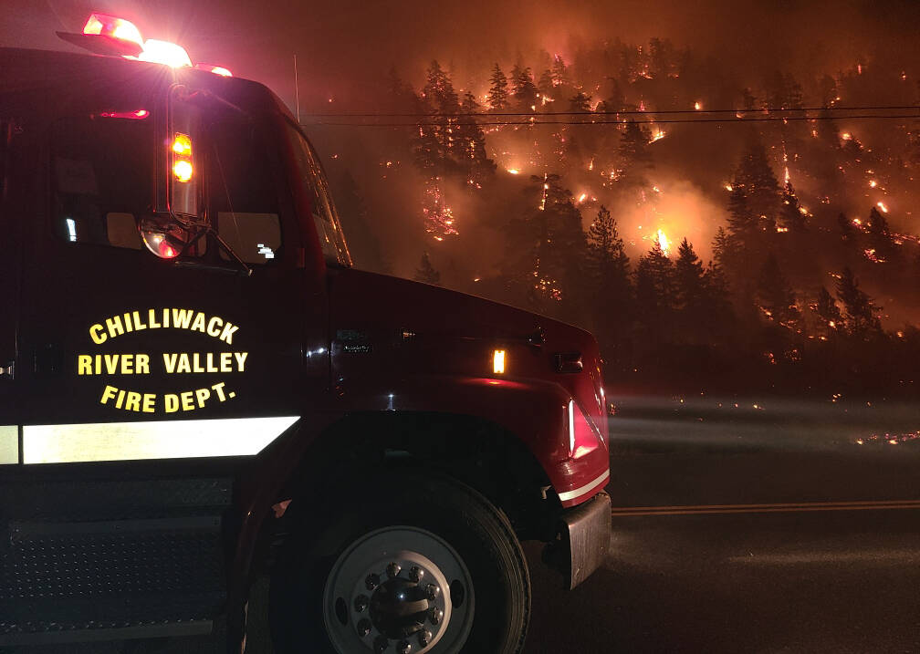 Chilliwack River Valley volunteer firefighters on the scene of one of the many wildfires that blazed through B.C. this summer. (Submitted photo)