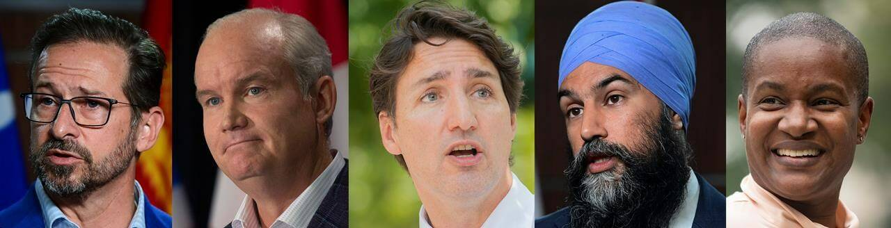 A composite image of five photographs show, from left to right, Bloc Quebecois Leader Yves-Francois Blanchet in Ottawa on Tuesday, June 1, 2021; Conservative Leader Erin O'Toole in St. John's, N.L. on Monday, July 26, 2021; Liberal Leader Justin Trudeau in Montreal, Thursday, Aug. 5, 2021; NDP Leader Jagmeet Singh in Ottawa on Wednesday, June 23, 2021, and Green Leader Annamie Paul in Toronto on Monday, July 19, 2021. THE CANADIAN PRESS/Sean Kilpatrick, Paul Daly, Graham Hughes, Chris Young