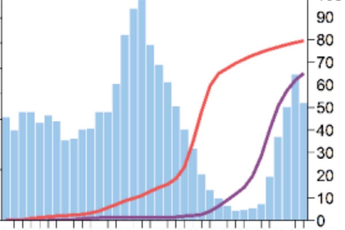Vaccination percentage of B.C. residents age 20-29, to Aug. 21, 2021. Red line is first dose, purple is two doses. Blue bars indicate case count by week for the age group. (B.C. Centre for Disease Control)