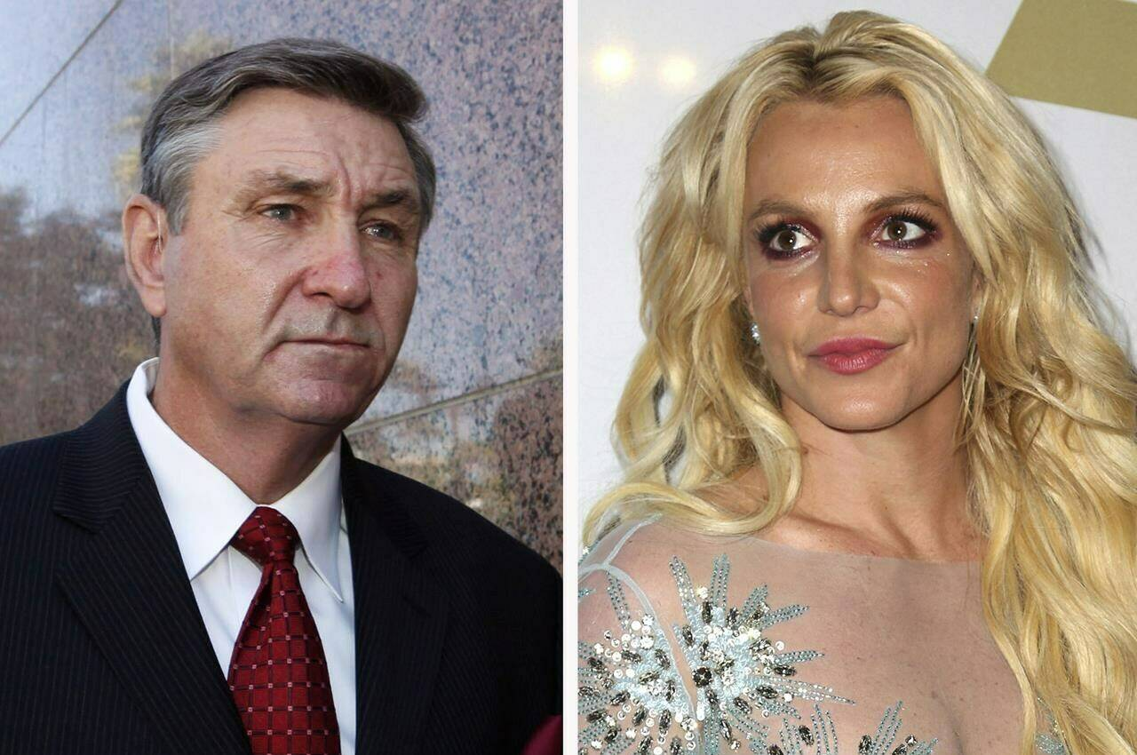 This combination photo shows Jamie Spears, left, father of Britney Spears, as he leaves the Stanley Mosk Courthouse on Oct. 24, 2012, in Los Angeles and Britney Spears at the Clive Davis and The Recording Academy Pre-Grammy Gala on Feb. 11, 2017, in Beverly Hills, Calif.. Britney Spears' father agreed Thursday, Aug. 12, 2021, to step down from the conservatorship that has controlled her life and money for 13 years, according to reports. Several outlets including celebrity website TMZ and CNN reported that James Spears filed legal documents saying that while there are no grounds for his removal, he will step down. (AP Photo)