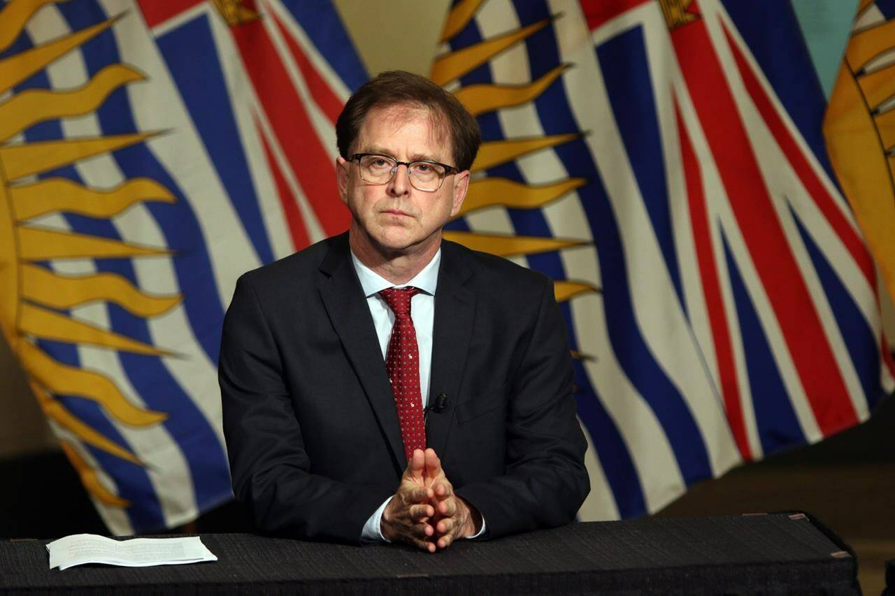 Health Minister Adrian Dix at a news conference in the rotunda at legislature in Victoria on Wednesday May 6, 2020. THE CANADIAN PRESS/Chad Hipolito
