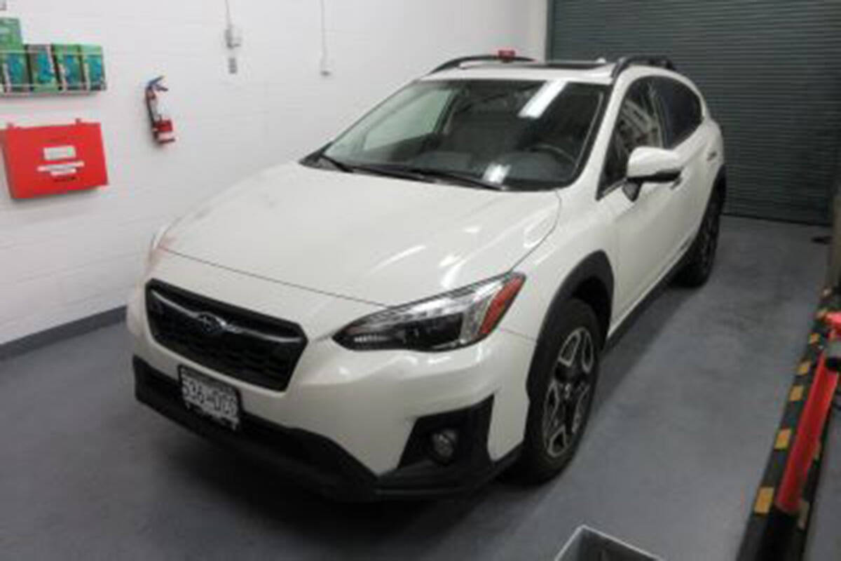 RCMP have released an image of missing woman Naomi Onotera's vehicle, a white 2018 Subaru Crosstrek with a Greater Vancouver Zoo sticker in the front window on the passenger side. (RCMP)