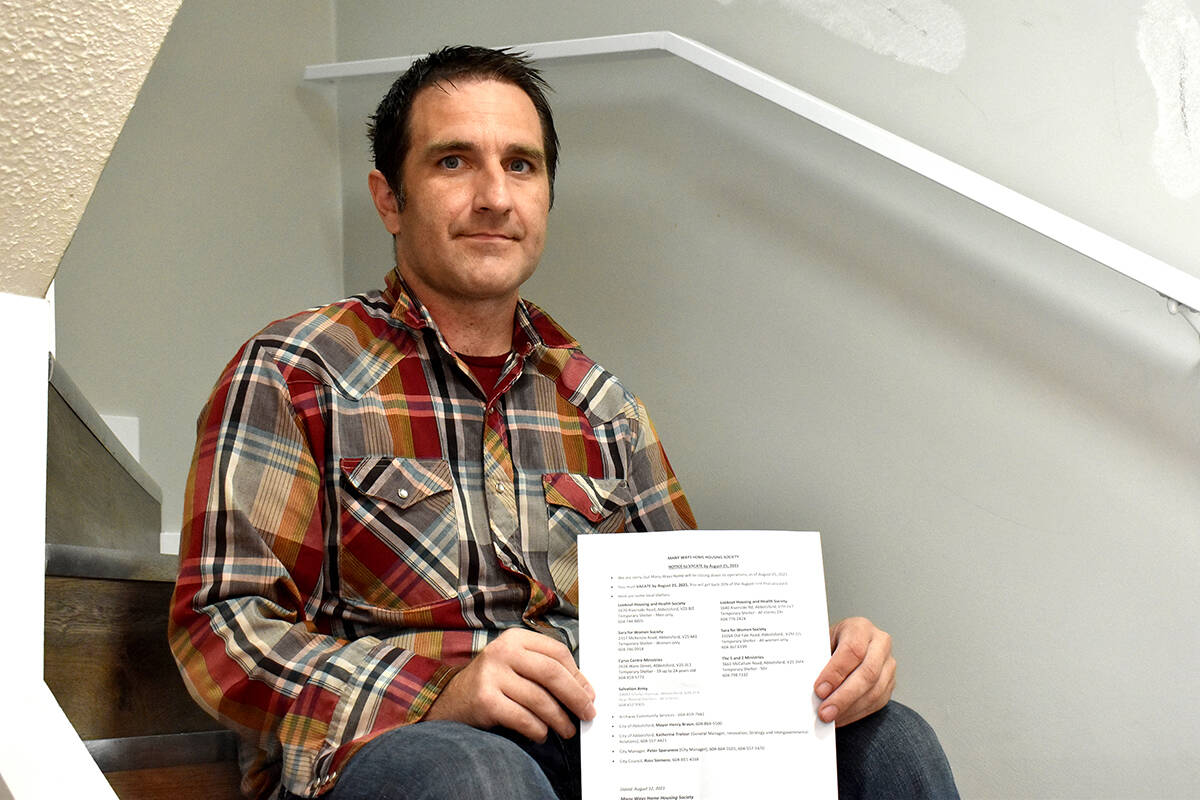 """Jared Davidson was one of the tenants impacted when the Many Ways Home Society in Abbotsford issued a """"notice to vacate"""" to 45 tenants in August. But now that two agencies have stepped in to help, all the tenants can remain in their homes. (Ben Lypka/Abbotsford News)"""