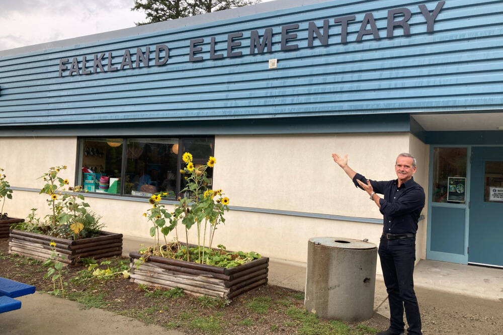 Col. Chris Hadfield, decorated Canadian astronaut, made a surprise stop at Falkland School Sept. 17, 2021, on his way to pick up his new puppy, Henry, from the community. (Falkland School)