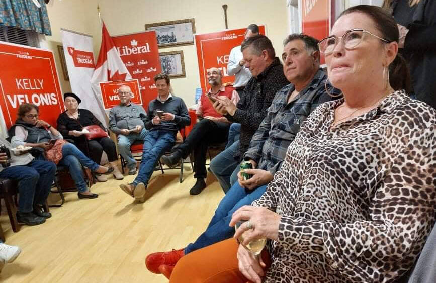 Kelly Velonis (right) and supporters gathered at the Metis Association building at Stó:lō Nation to watch federal election results roll in on Monday, Sept. 20, 2021. (Eric J. Welsh/ Chilliwack Progress)
