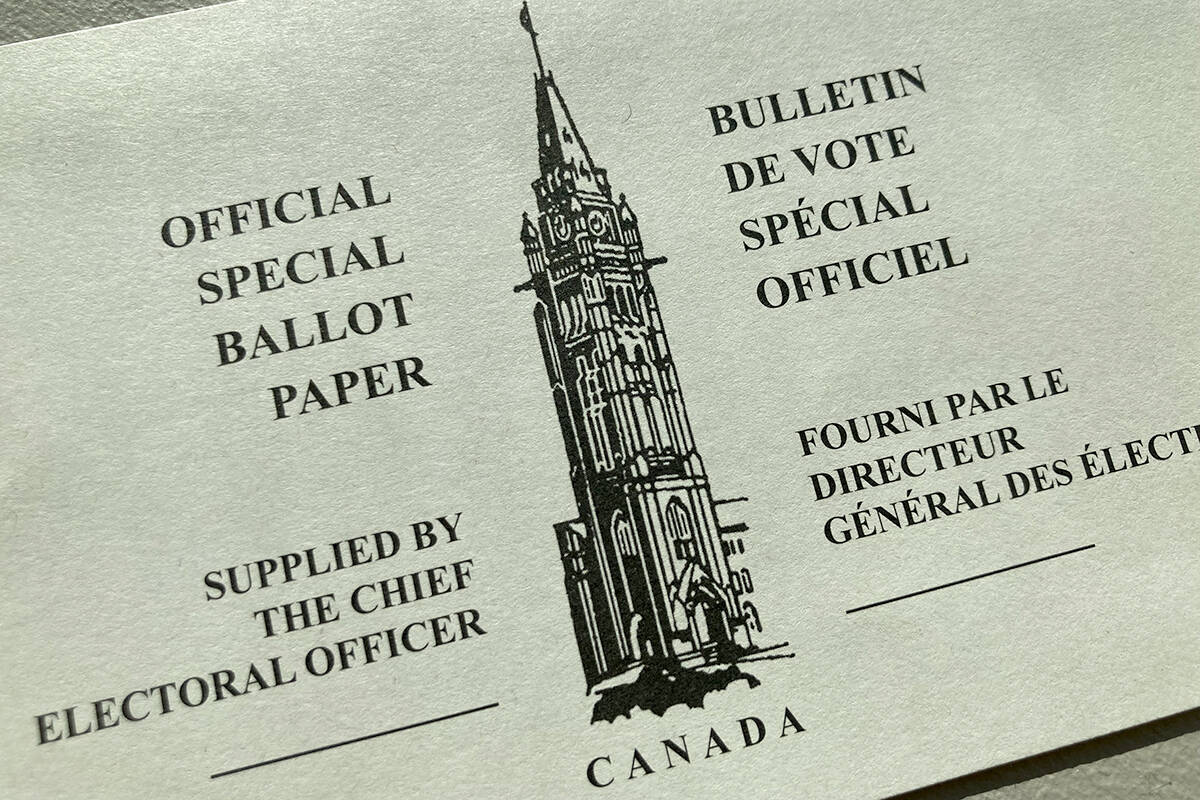 A mail-in ballot for the 2021 federal election. (Black Press Media files)