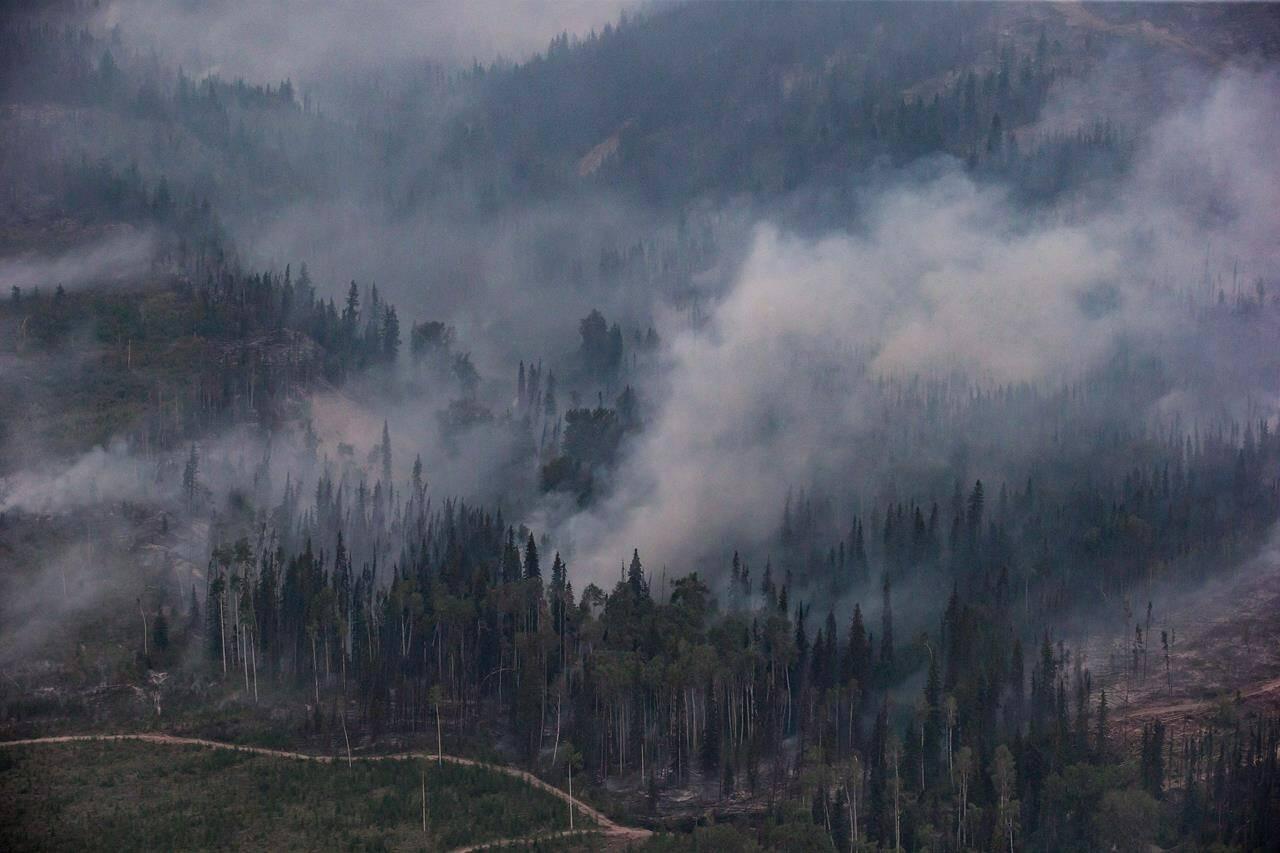 The Shovel Lake wildfire burns near the Nadleh Whut'en First Nation in Fort Fraser, B.C., on Thursday August 23, 2018. THE CANADIAN PRESS/Darryl Dyck