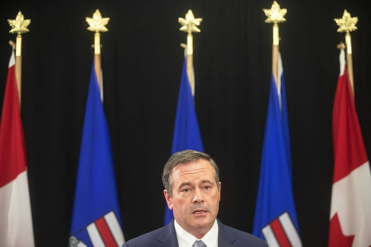 Alberta Premier Jason Kenney gives a COVID-19 update in Edmonton on Tuesday, Sept. 21, 2021. THE CANADIAN PRESS/Jason Franson Alberta Premier Jason Kenney gives a COVID-19 update in Edmonton on Tuesday, Sept. 21, 2021. THE CANADIAN PRESS/Jason Franson