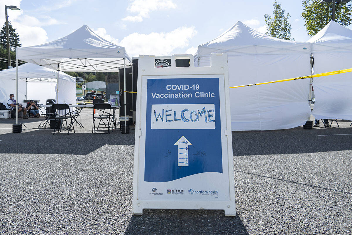 More than 40 people were vaccinated on Sept. 8 at a pop-up vaccination clinic located in the Coast Mountain College parking lot in Prince Rupert. (Norman Galimski/The Northern View)